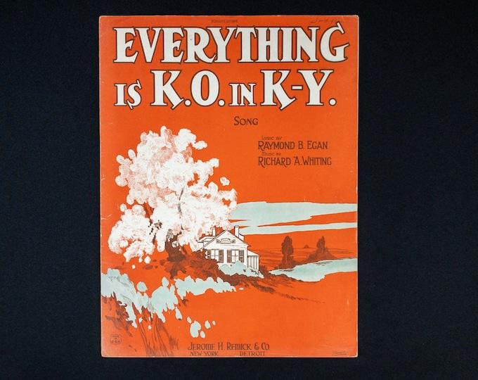 Vintage 1920s Sheet Music Everything is K.O. in K-Y Lyrics Raymond Egan Music Richard Whiting Roaring 20s STARMER Illustration