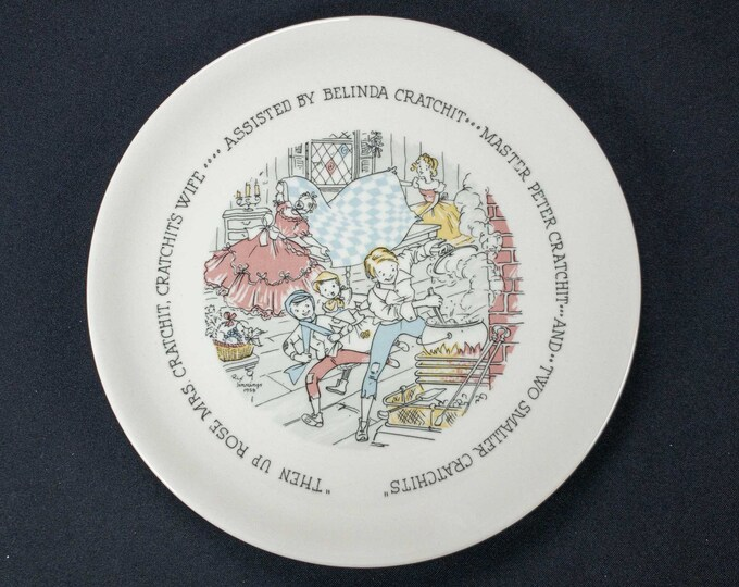Vintage 1959 Christmas Plate Charles Dickens Scene Buffalo China Design By Artist Rix Jennings
