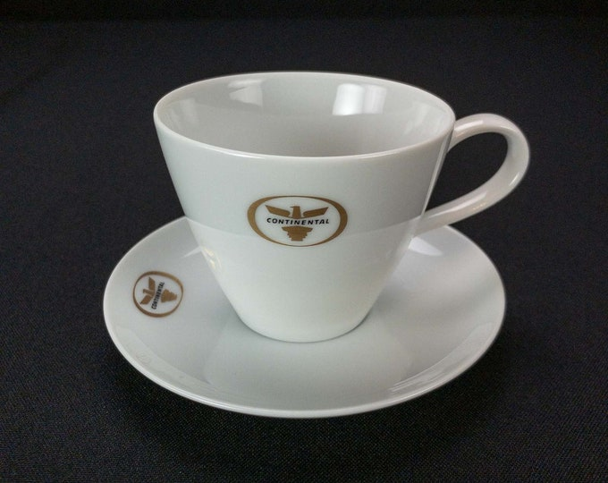 HTF Continental Airlines Golden Eagle Pattern Cup and Saucer by Noritake Circa 1959-1964