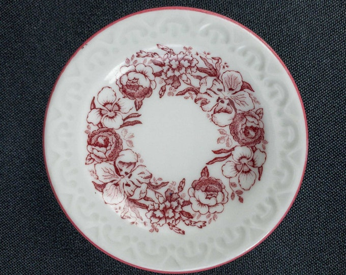 1930-1948 Red Floral Avon Pattern Embossed Edge & Red Stripe Butter Pat Detailed Colored Backstamp Restaurant Ware By Shenango