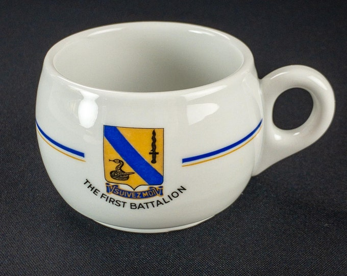 Vintage 1949-70s US Army 1st Battalion Headquarters Company 14th Cavalry Coffee Cup by Bauscher Weiden Germany