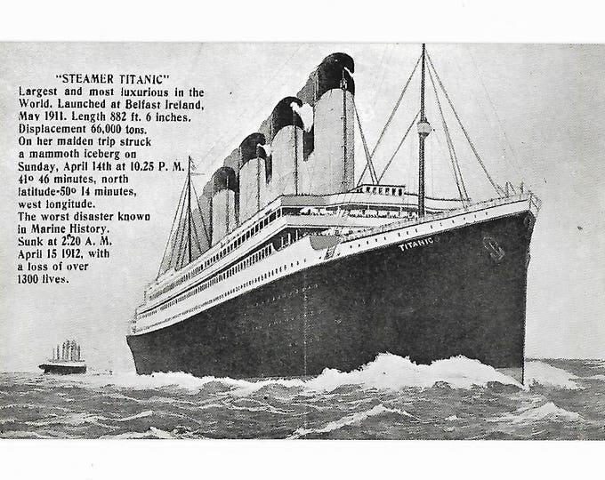 Titanic Commemorative Post Card Tichnor Brothers Unposted
