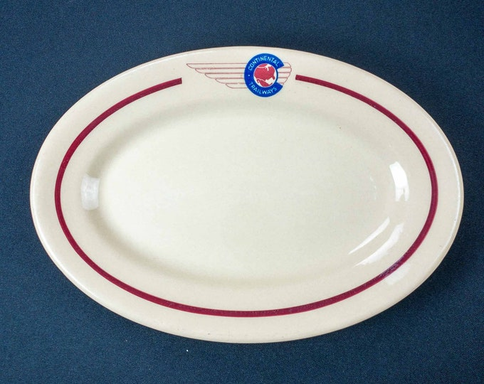 Vintage 1950s Continental Trailways Terminal Restaurant Ware Oval Plate by Shenango