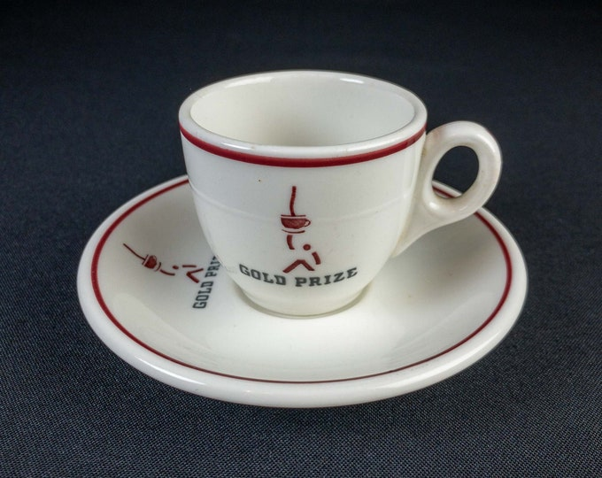 Vintage 1950s Gold Prize Coffee Company Chicago, IL Restaurant Ware Demitasse Cup and Saucer Walker China