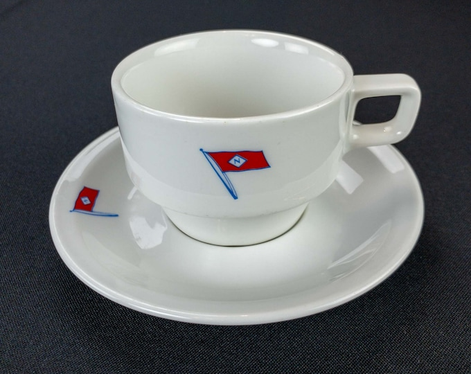Vintage 1960s Norness Steamship Shipping Company Dutch Amsterdam Maritime Cup Saucer by Seltmann Weiden Bavaria West Germany