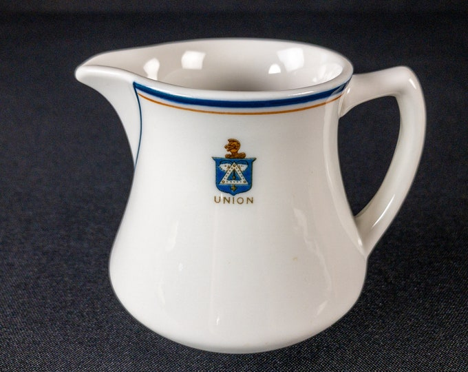 UNION crested creamer by OPCo Syracuse China dated 1937
