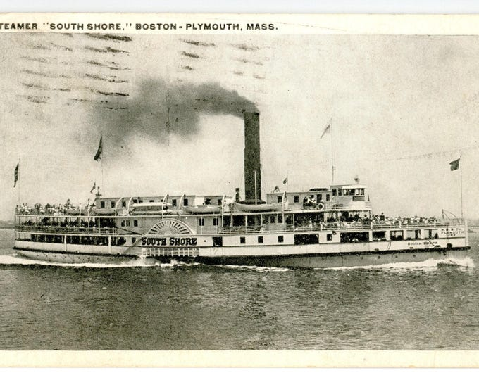 Postcard of Steamer South Shore Boston to Plymouth Mass Nantasket Beach Line Posted Jul 12, 1923 Plymouth Mass 1 Cent Stamp