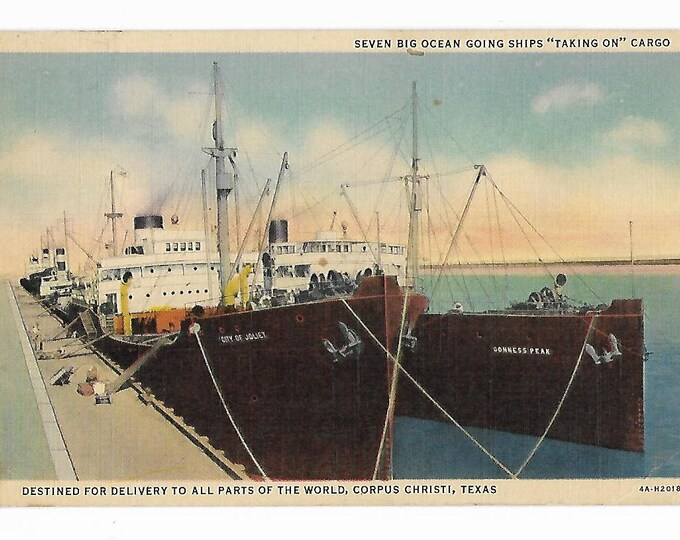 """Linen Postcard Seven Big Ocean Going Ships """"Taking on"""" Cargo Curt Teich Art-Colortone Coded 4A-H2018 (1934) Posted in 1936"""