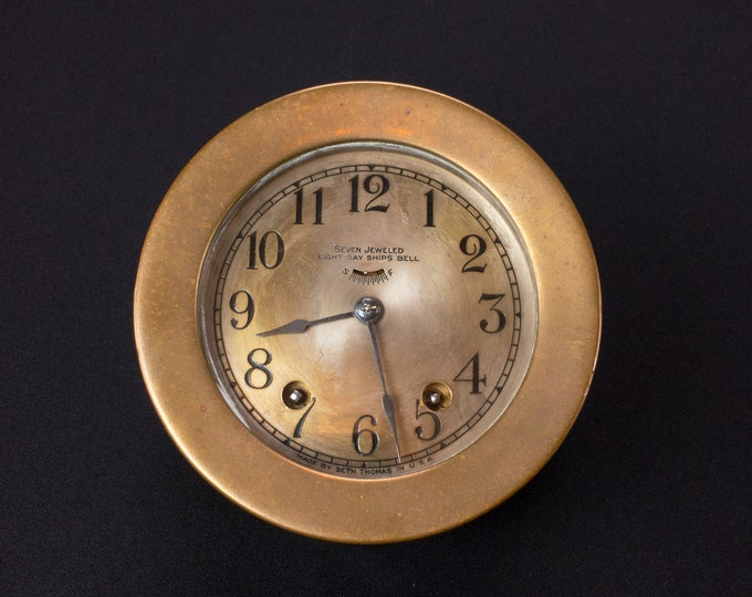 Vintage And Working Seth Thomas Ship Bell Clock 4 1/2 Inch Face In Heavy Brass Case 7 Jeweled 8 Day 115A Movement with Key
