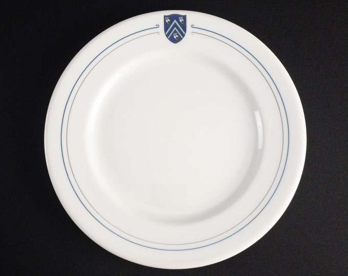 """Rice University Institute Houston Texas 9-3/4 Inch Dinner Plate """"Curled Pinstripe"""" Restaurant Ware By Shenango China"""