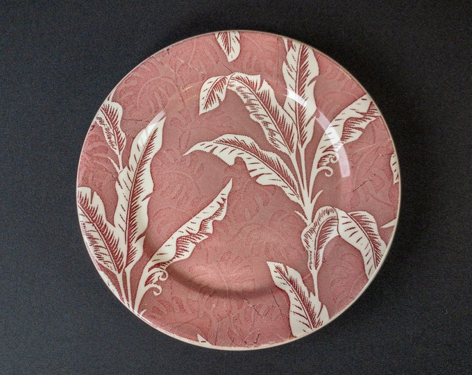 """Wallace Red Shadowleaf Palm Pattern 9.5"""" Dinner Plate Restaurant Ware By Wallace China 1940s"""