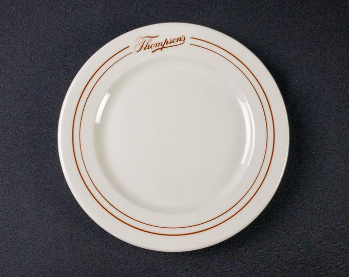 """Thompson's Lunch Room 8-1/2"""" Plate Restaurant Ware By Scammell's Trenton China Circa 1940s"""