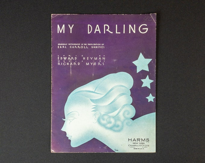 1930s Piano Guitar Banjo Sheet Music - My Darling - Lyric By Edward Heyman Music By Richard Myers Cover Art By Harris Publisher Harms Inc