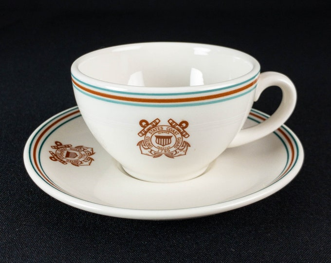 US Coast Guard Coffee Cup and Saucer Restaurant Ware by Mayer China