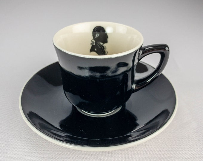 Silhouette Pattern George Washington Topmark Demitasse Cup & Saucer Restaurant Ware By Syracuse China