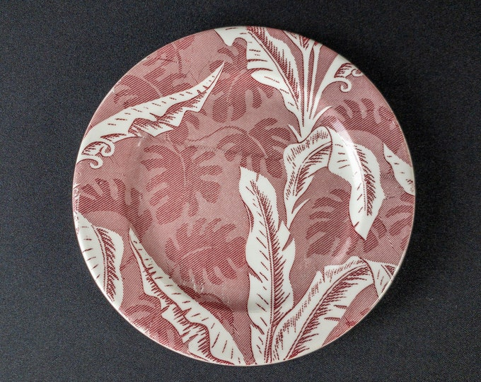 """TEPCO China Palm Pattern in Red 8"""" Side or Salad Plate Restaurant Ware 1930s-60s"""