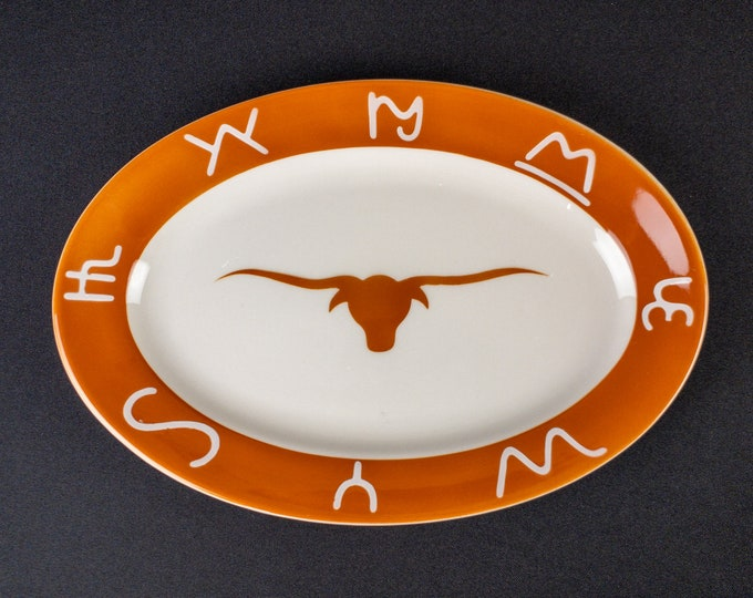 Stencil Airbrush Western Steer Cattle Cow Brand Pattern Oval Platter 11-1/2 X 8 inch By Jackson China