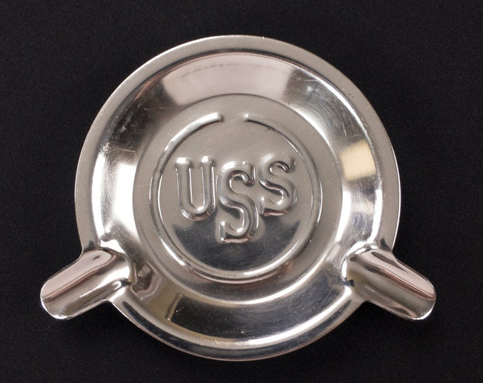 """Vintage 1980s Iconic United States US Steel Corporation Stainless 5 1/2"""" Diameter Advertising Ashtray Tobacciana"""