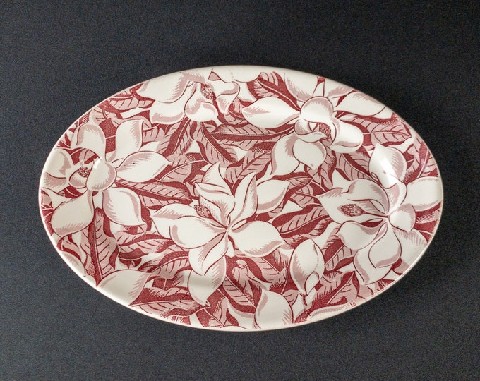 """Wallace China Magnolia Pattern In Red 13"""" Oval Platter Restaurant Ware 1940s"""