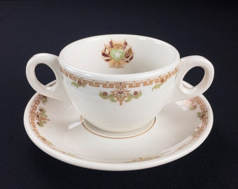 Rice Hotel Houston Texas Restaurant Ware Double Handled Bullion Cup and Saucer by Lamberton Scammell Circa 1930s-40s