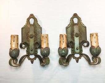 Lincoln Polychome Painted Two Light Sconces Circa 1920s-30s
