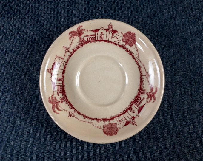 """Missouri Pacific Railroad 5-3/8"""" Saucer Mission Pattern Adobe By Syracuse China 1948"""