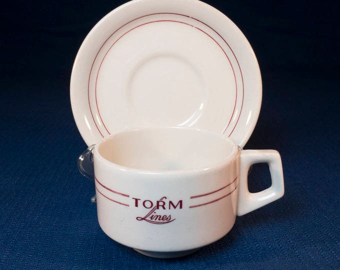 TORM Shipping Lines Denmark by Grindley White Granite Vitrified Nautical Maritime Ship China Restaurant Ware Circa late 1980s-early 1990s