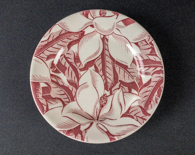"""Wallace China Magnolia Pattern In Red 6.25"""" Bread Side Plate Restaurant Ware Wallace China 1940s"""