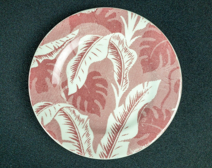 """Pink Palm Pattern 5-1/2"""" Roll Plate Restaurant Ware by TEPCO Blue Ridge China USA"""