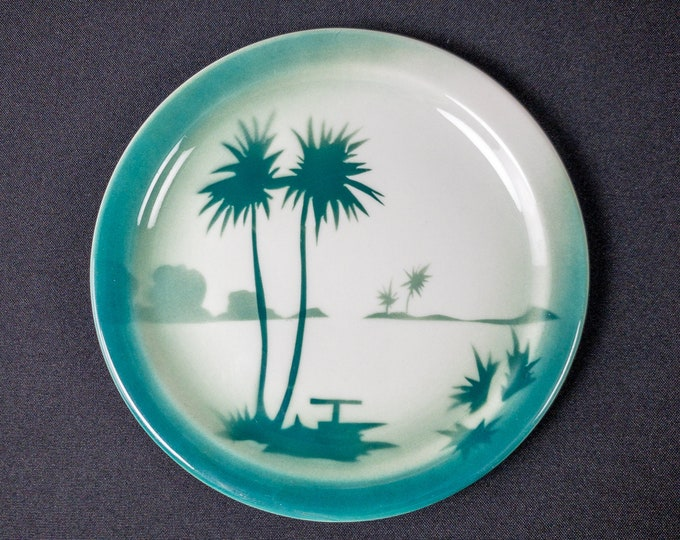 """Stencil Airbrush Teal Palm Tree Oasis Pattern 7-1/4"""" Side Plate Restaurant Ware By Jackson China 1946-51"""