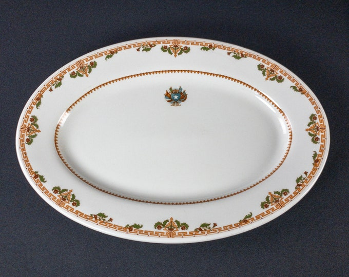 """Rice Hotel Houston Texas 15 x 10-1/2"""" Oval Serving Platter Restaurant Ware By Shenango China 1920-early 1950s"""