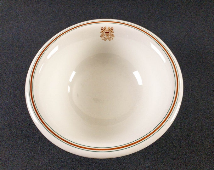 """United States Coast Guard 9-1/2"""" Serving Bowl Restaurant Ware By Jackson China Dated 1945"""