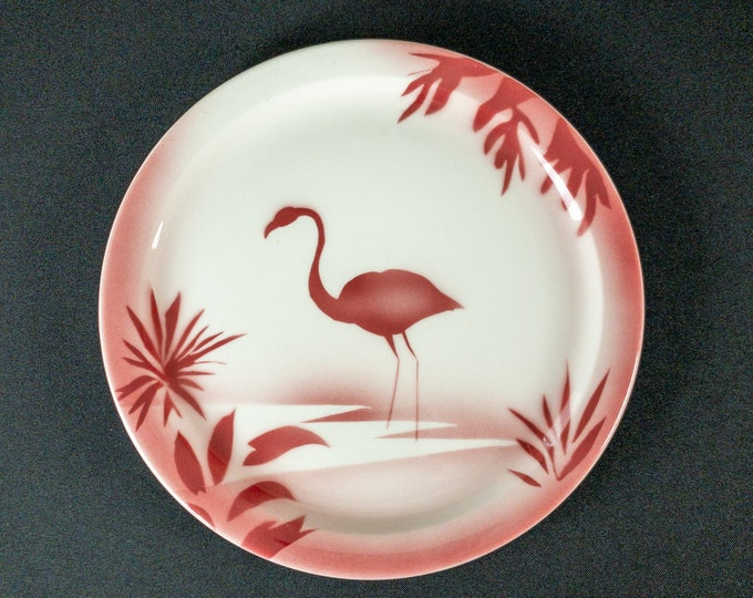 "Stencil Airbrush Pink Flamingo Wild Bird Pattern 9-3/4"" Narrow Rim Dinner Plate Restaurant Ware By Jackson China 1940s"