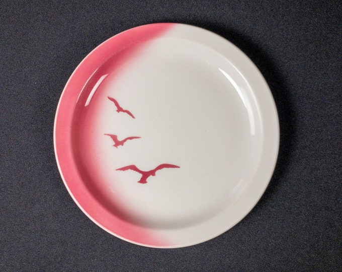 """Stencil Airbrush Pink Seagull Bird 7-1/4"""" Side Plate Restaurant Ware By Jackson China 1979"""