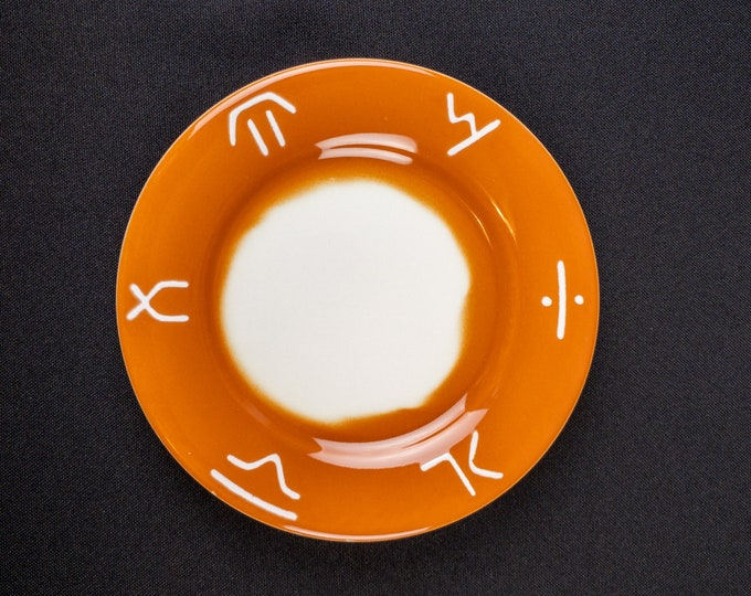 "Stencil Airbrush Orange Western Brand Pattern 5-1/2"" Roll Plate Restaurant Ware By Jackson China 1968"