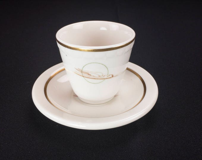 Union Pacific Winged Streamliner Pattern Demitasse Cup (Econo-Rim Syracuse) and Saucer by (Scammel's Trenton)