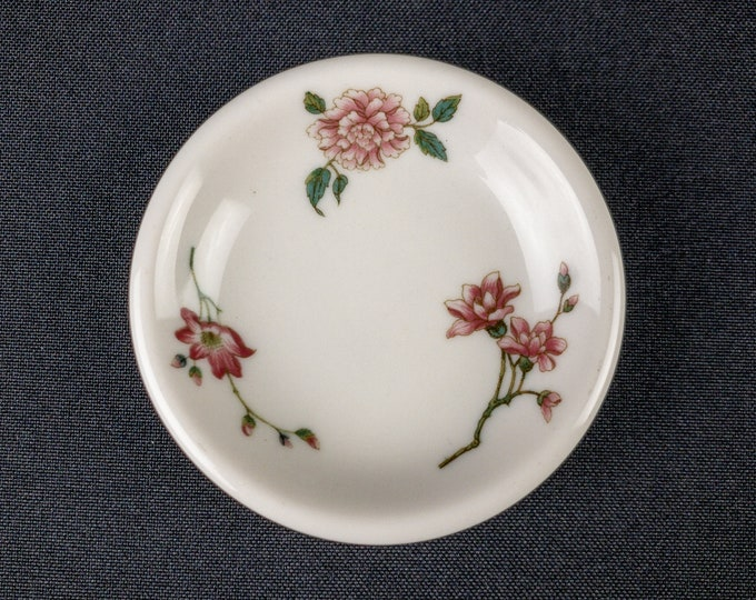 """Summerdale Pattern Pink Green Floral 3"""" Butterpat Restaurant Ware By Syracuse China 1960s"""