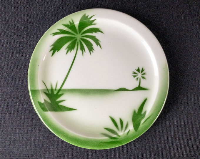 """Stencil Airbrush Green Island Palm Oasis Miami Pattern 6-3/8"""" Side Bread Plate Restaurant Ware By Jackson China 1950s"""