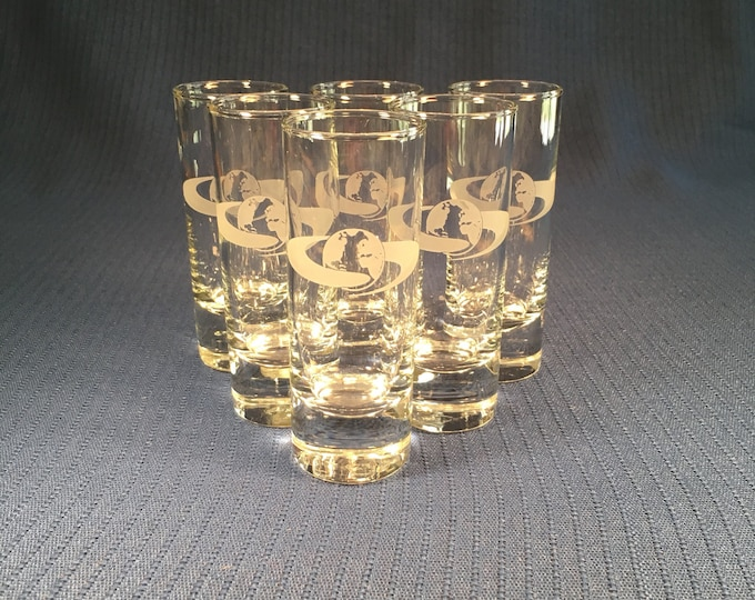 Set of 6 shot or cordial glasses featuring an around the world logo Airline? NASA Contractor?