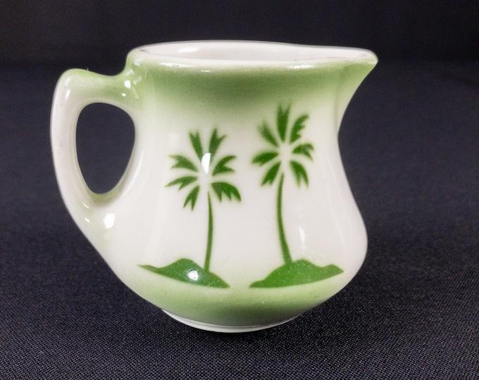 Stencil Airbrush Green Island Palm Oasis Miami Pattern Creamer Restaurant Ware By Jackson China 1950s
