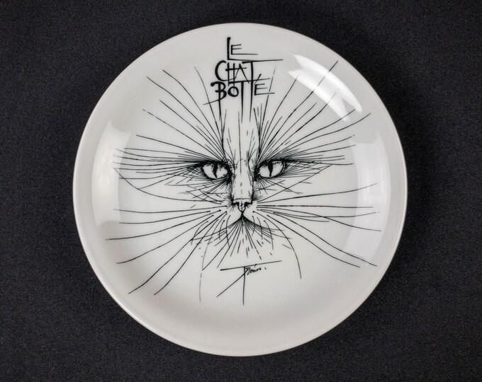 """Le Chat Botte (Puss in Boots) Restaurant Geneva Switzerland 7-5/8"""" Plate Restaurant Ware By Bauscher Weiden"""