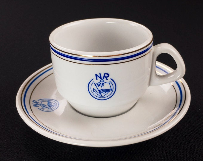 1980s Navrom Bucharest Romania Shipping Line Maritime Cup Saucer by Portel Anul Alba Julia Communist Era