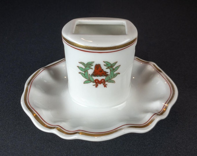 Raleigh Hotel Restaurant Ware Matchstand By The Ohio Pottery Co Circa 1893-1923