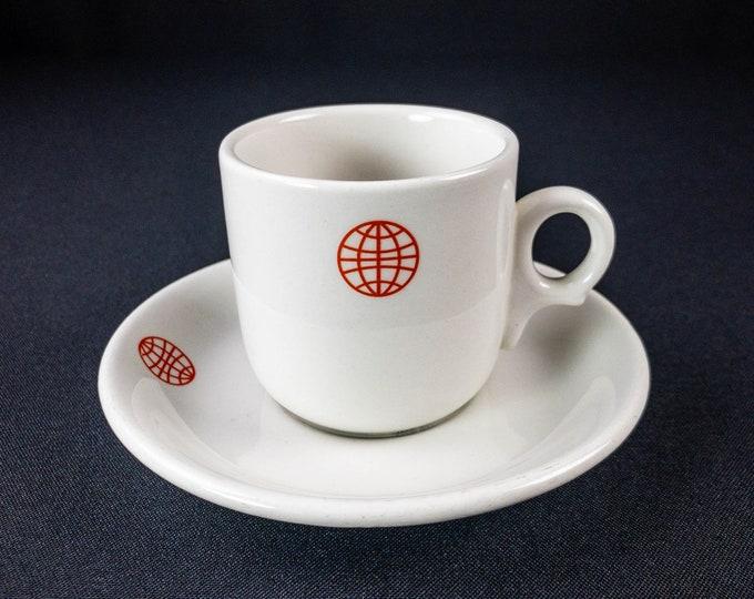 Red Globe Emblem Logo Nautical Maritime Ship Demitasse Cup and Saucer Restaurant Ware By Dunn Bennett (General Steam Navigation Co London??)