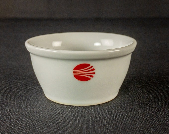 """Continental Airlines 3-1/8"""" Nut Ramekin Red Contrails Pattern Restaurant Ware China P/N 8-1577 1980s-early 1990s"""