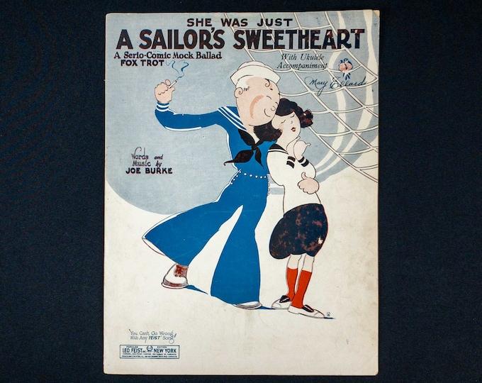 Vintage 1925 Sheet Music She Was Just A Sailor's Sweetheart by Joe Burke