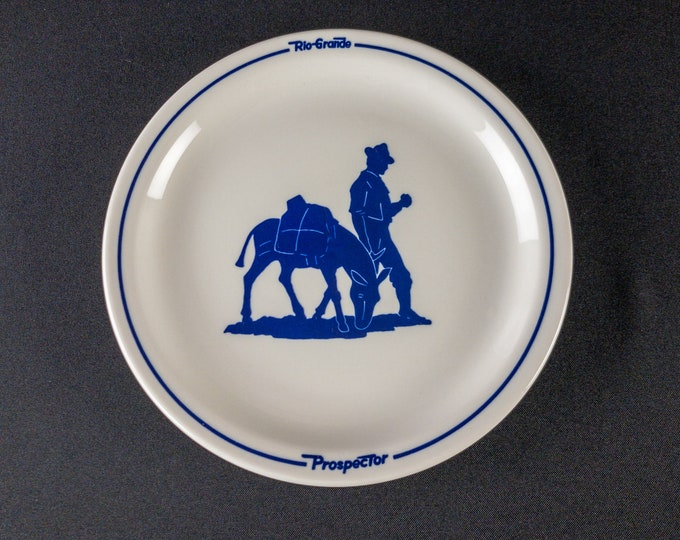 """Limited Edition Reproduction of Prospector Pattern Denver Rio Grande Railroad 9"""" Plate Restaurant Ware by Sterling China for Luckin 1981"""