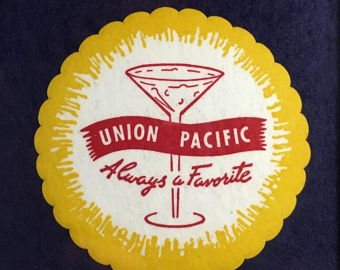 Framed Railroad Drink Coasters and Stir Stick Golden Spike Centennial 1969
