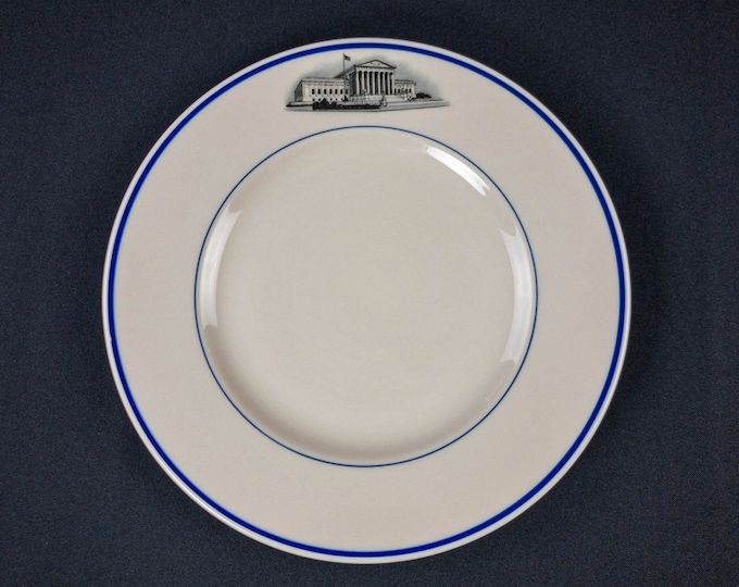 """Justice's Dining Room United States Supreme Court 10-1/4"""" Dinner Plate Restaurant Ware by Syracuse China 1964 Date Code Civil Rights Era"""