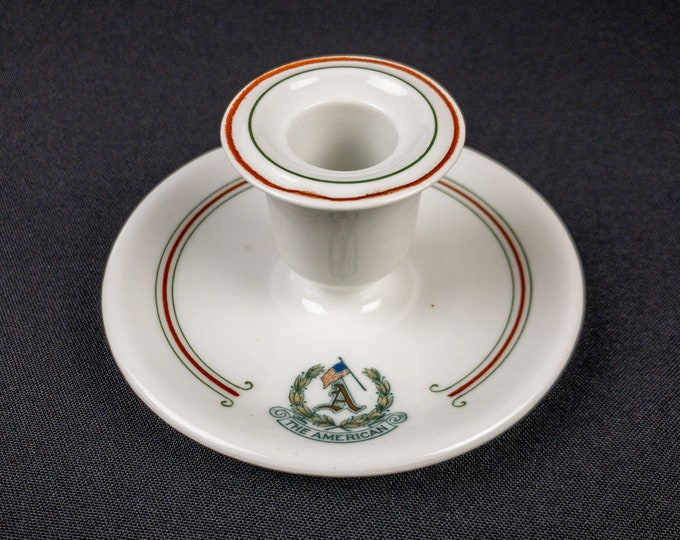 Antique 1914 The American Hotel Reading Pennsylvania Candlestick Holder Restaurant Ware By OPCo Syracuse